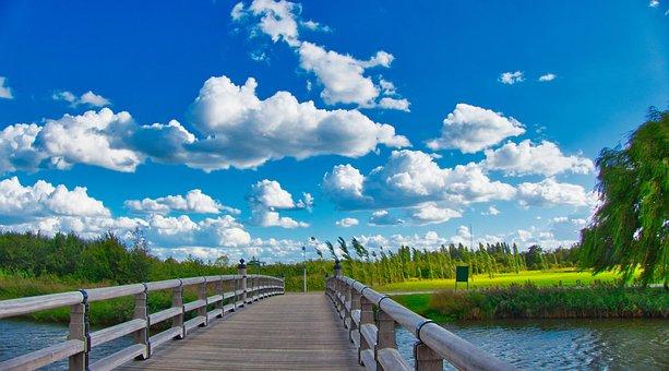 Air, Clouds, Bridge, Landscape