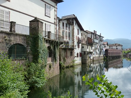 River, Dam, Reflection, People, Medieval, Architecture