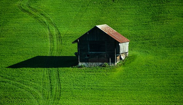 Chalet, Meadow, Mountain, Pasture, Summer, Green