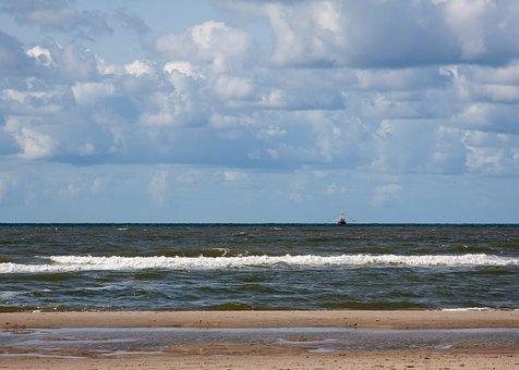 Sea, North Sea, Beach, Water, Nature, Landscape, Clouds