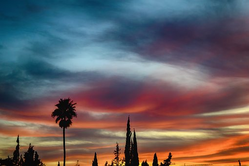 Sunset, Orange, Sky, Clouds, Romantic
