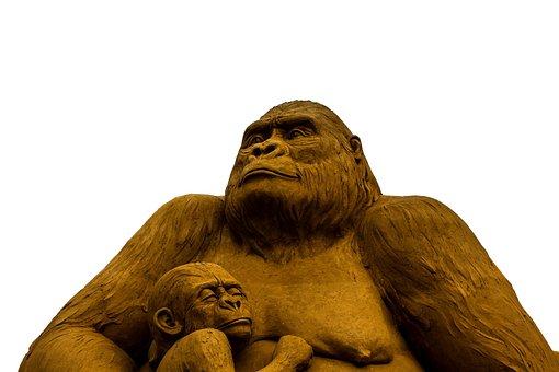 Sand Sculpture, Monkey, Gorilla, Mother, Child