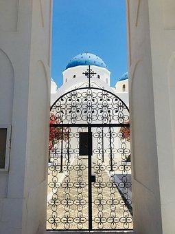 Santorini, Blue Roof, Greece, Church, Blue, Travel