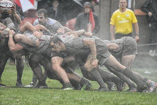 Rugby, Mud, College, Scrum