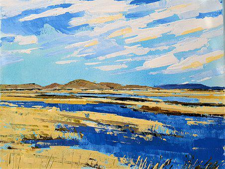 The Landscape, Water, Blue, Painting, Acrylic, Art