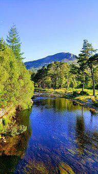 Coulin, Loch, Water, Reflections, Mountains, Trees