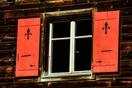 Window, Shutters, Chalet, Wood, Red, Rustic, Mountain
