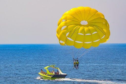 Parachute, Paragliding, Yellow, Balloon, Sea, Sky