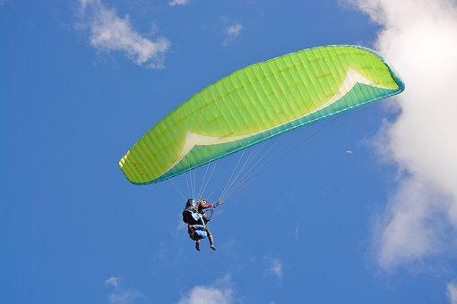 Paragliding, Paraglider, Aircraft, Green Sail