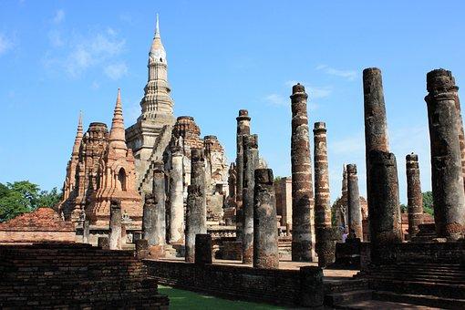 Thailand, Pagoda, Ruins, Ancient Architecture