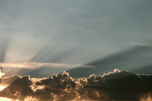 Clouds, Sunbeam, Sky, Sunset, Atmosphere, Mood, Sun