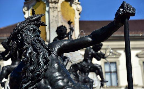 Augsburg, Augustus Fountain, Figure, Bronze, Symbol