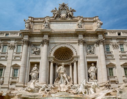 Fontana Di Trevi, Roma, Rome, Italy, Building, Historic
