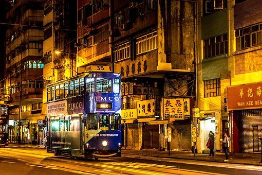 Hong Kong, Bus, Street, Spacer, City, Walkway, By Bus