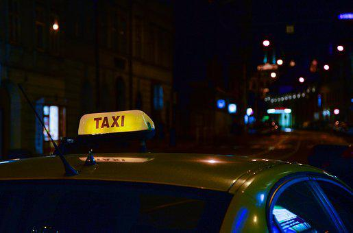 Taxi, Night, Dark, Car, Travel, City, Street, Lights