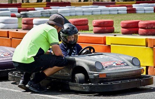 Go Cart, Racer, Driver, Child, Sport, Speedway, Action