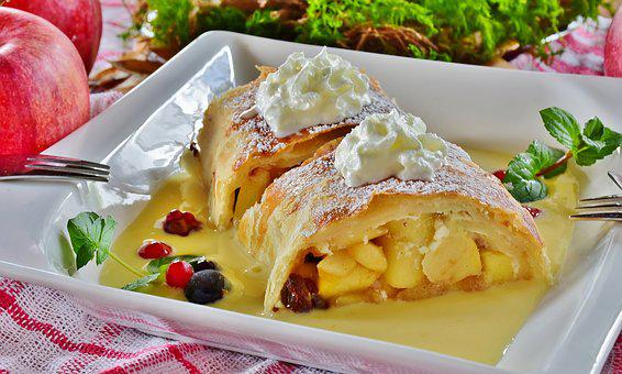 Strudel, Apple Strudel, Apple, Fruit, Cream, Dessert