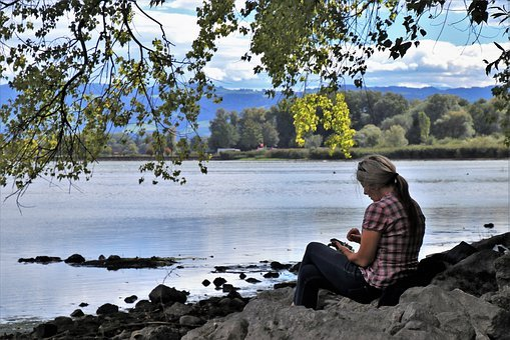 Beach, Lake, Girl, Lonely, Panorama, Idyllic, Water