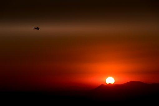 Santorini, Greece, Helicopter, The Sun, View, Mountains