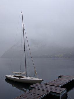 Sailing Boat, Web, Lake, Water, Fog, Landscape, Haze