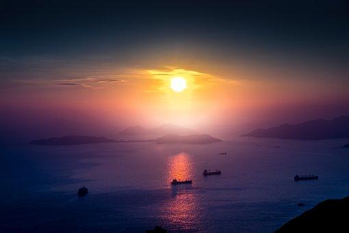 Hong Kong, West, Port, Sky, The Sun, Sea, Summer
