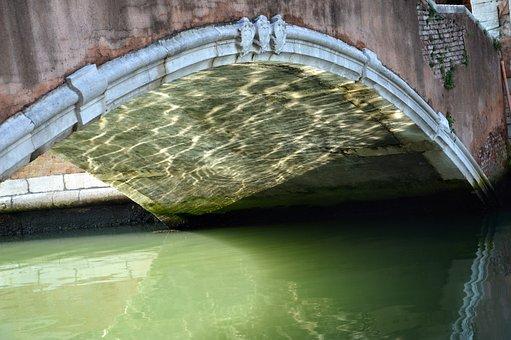 Bridge, Venice, Channel, Reflection, Light, Italy, Old