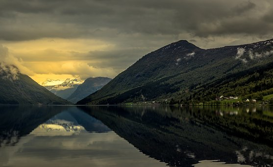 Norway, Mountains, Landscape, Clouds, Water, Sky