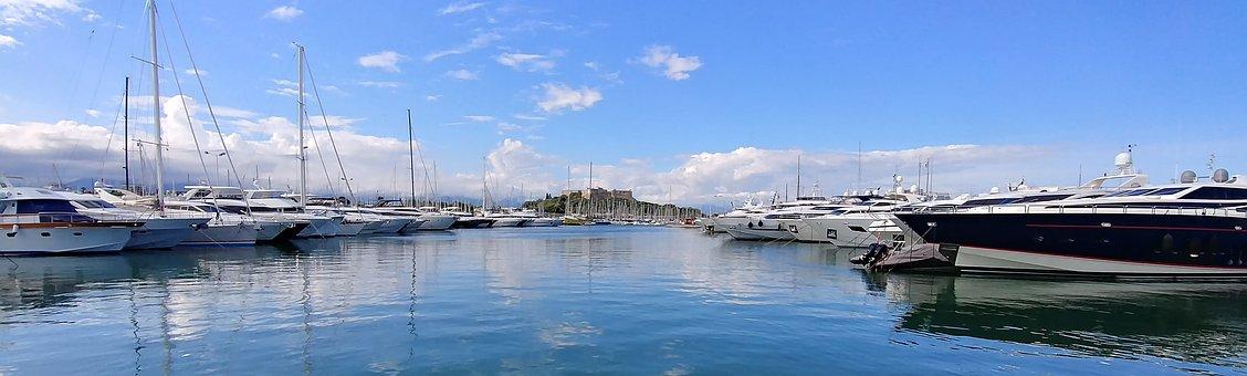 Ships, Port, Sea, Sky Clouds, Mediterranean, Antibes