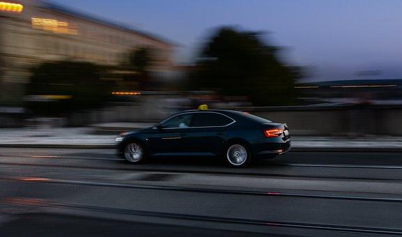 Car, Night, Evening, Panning, Dark, Light, Mood, City