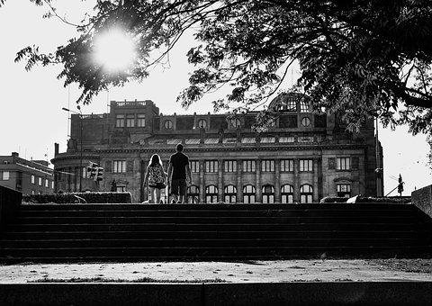 Building, Stairs, Sun, Black And White, People, Walking