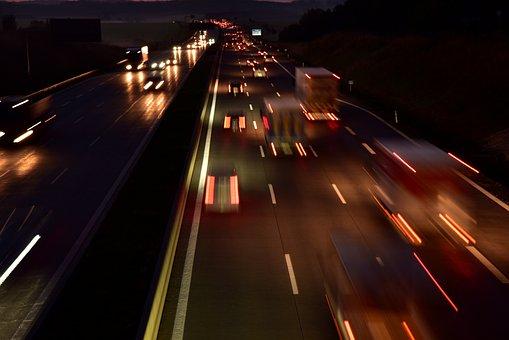 Highway, Night, Traffic, Travel, Transport, Exit, Road