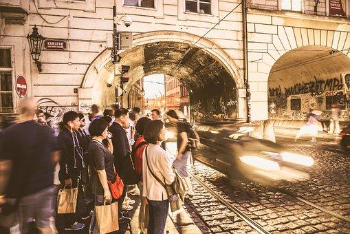 Sepia, Prague, Old, Vintage, Tourists, People, Arch