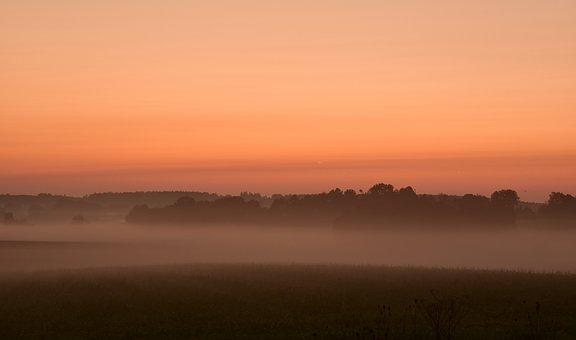Dawn, Haze, Horizon, Silhouette, Morning Light, Sky