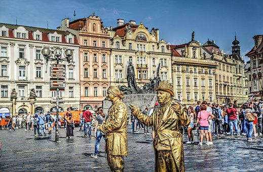 Golden Statue, Living, Statue, Prague, Golden, Human