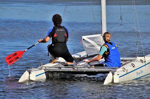 Lake, On The Water, Rowing, Swimming, Sunny, Two, Para