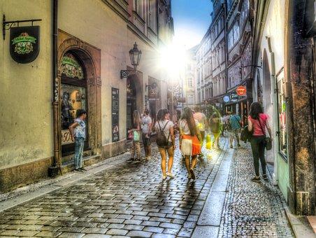 People, Shopping, Hdr, Prague, Tourists, Girl, Clothing