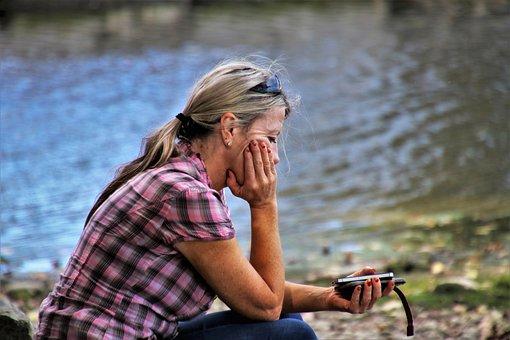 Lake, Water, She, Sitting, Woman, View, Nature