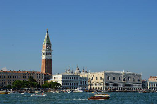 Venice, Campanile, St Mark's, Italy, Torre, Water