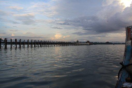 Sunset, Water, Boat, Wooden Bridge, Scenic