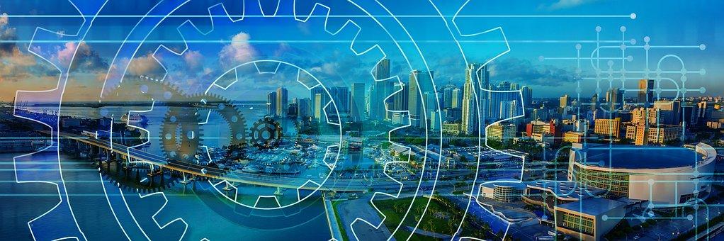 Gears, Skyline, Work, Mechanics, Work Processes, City