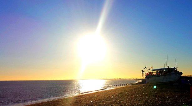 Sky, Sunset, Beach, Shingle, Boat, Coast, Shore