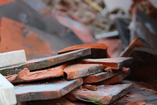 Building Rubble, Tile, Orange, Construction, Recycling
