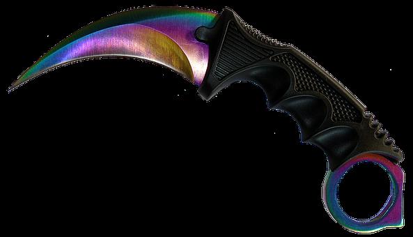 Knife, No Background, Handle, Edge, Rainbow, Karambit