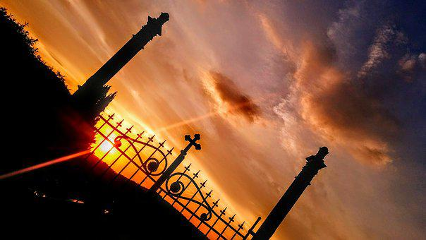 Graveyard, Gate, Cross, Evening, Sun, Sky, Clouds