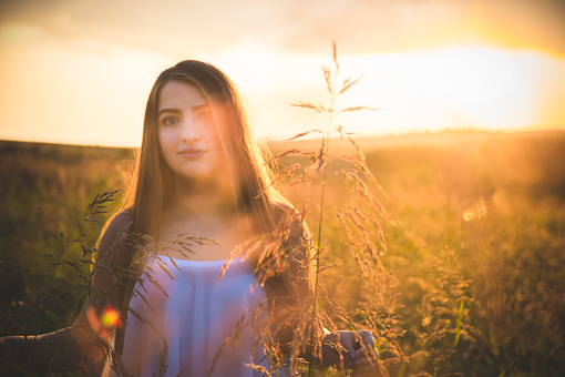 Girl, Portrait, Sunset, Hair, Eyes, Beauty, Camp, Smile
