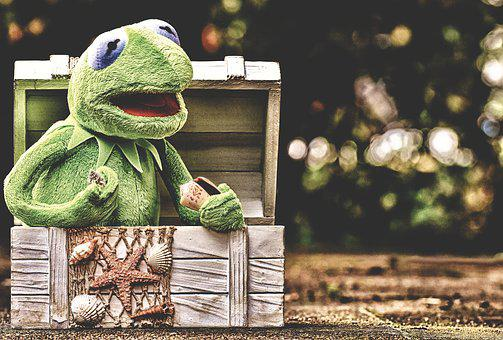 Kermit, Frog, Chest, Mussels, Fishing Net, Toys, Green