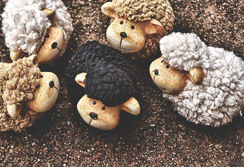 Sheep, Figures, Clay Figures, Wool, Cute, Deco, Funny