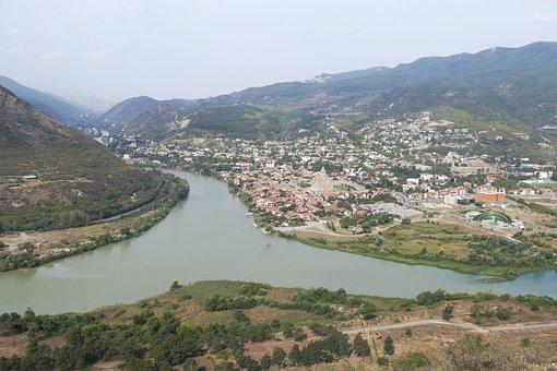 Georgia, Mtskheta, Church, Caucasus, River, Panorama