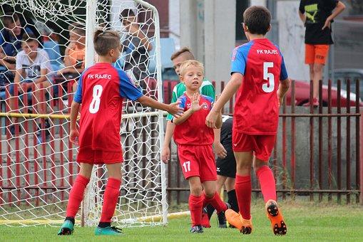 Football, Children, Younger Pupils, Goal, Pleasure