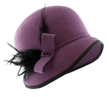 Hat, Hat Filcowy, Hat Purple, Hat Womens, A Feather
